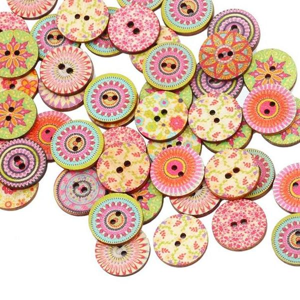 Round Vintage Wooden Buttons *50pcs/lot*