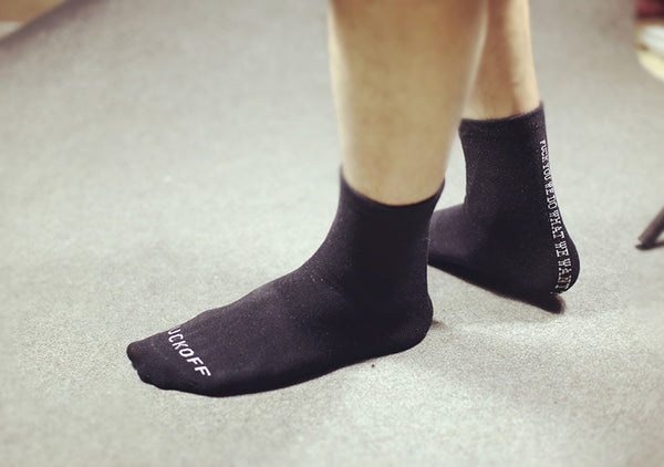F_ck You We Do What We Want  Rebellious Skateboard Socks for Men *Black or White*