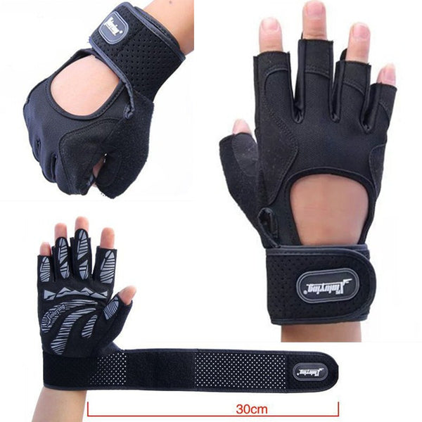Modern Strips Anti-Slip Gym Gloves *Extra Long Wrap*
