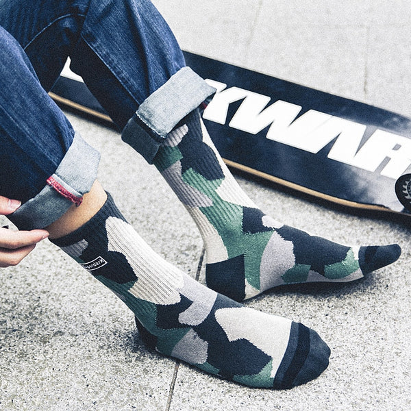 Artsy Camouflage Skateboard Socks for Voguish Taste - Fashion Socks for Men