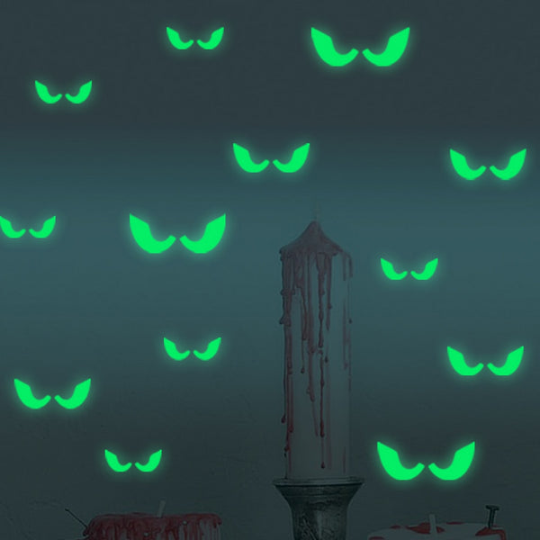 Glowing In The Dark Evil Eyes Wall Glass Sticker for Halloween Decoration *18pcs/set*