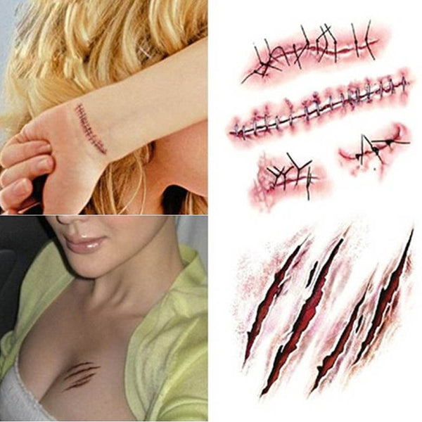 Fake Wound with Blood Sticker for Halloween Cosplay Decoration *10 pcs/set*