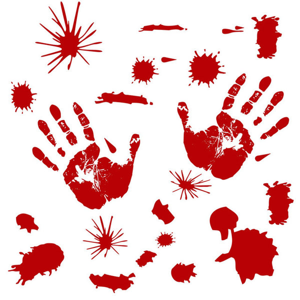 Horror Blood and Bloody Fingerprint Sticker for Halloween House Decoration