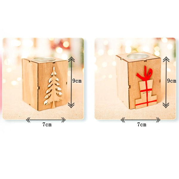 Christmas Decoration Mini Wooden Candle Holder *4 Designs*