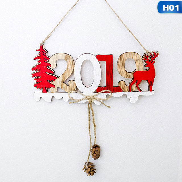 2019 Christmas New Year Door Decoration Hanging Pendant