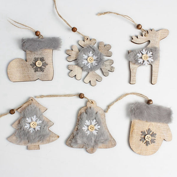 Wooden Christmas Hanging Ornaments with Comfy Fur