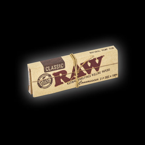 RAW CONNOISSEUR 1/4 ROLLING PAPERS + TIPS