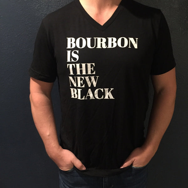 bourbon is the new black unisex v-neck tee