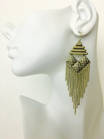 Vintage Aztec Chandelier Earrings
