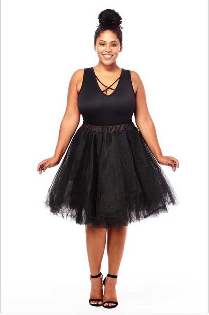 Plus size black ballerina skirt