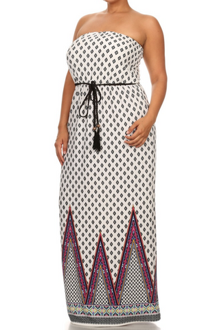 The Tribal Strapless Maxi Dress