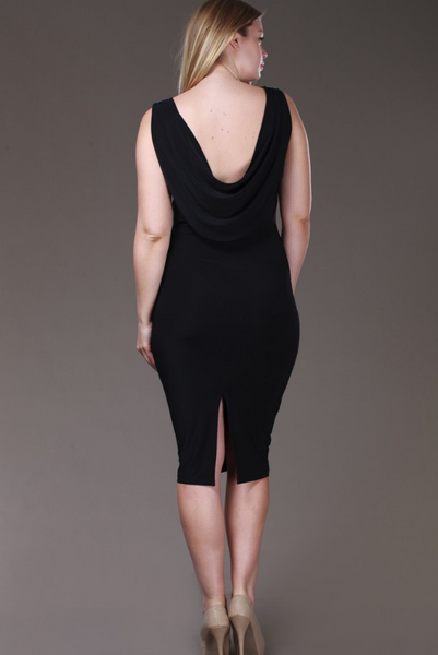 The LBD Collection - The Cowl Back Body Con Dress, Plus Size
