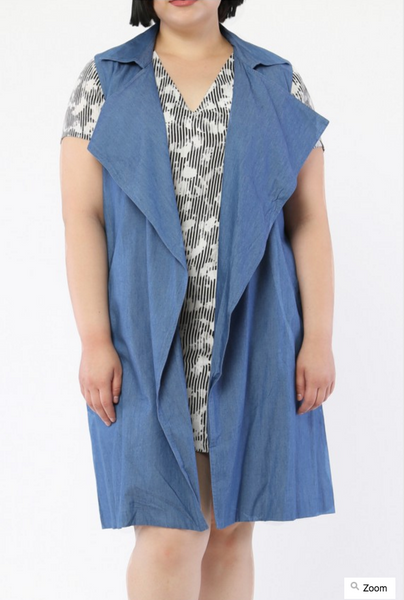 Plus Size Denim Duster