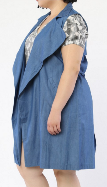 Plus Size Denim Wrap Dress