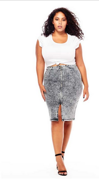 Black acid wash plus size denim skirt