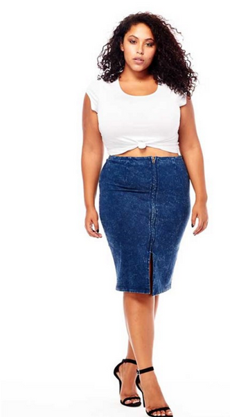 plus size blue acid wash denim skirt with front split