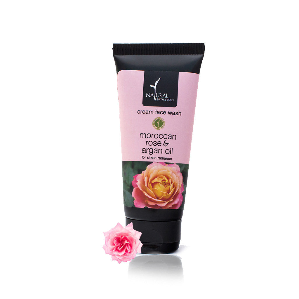 Moroccan Rose & Argan Oil Cream Face Wash - Natural Bath & Body