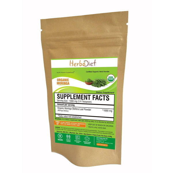 Organic Herb Powders - Herbadiet Moringa Oleifera ORGANIC Leaf Powder Premium Grade Supplement | Moringa Powder Online