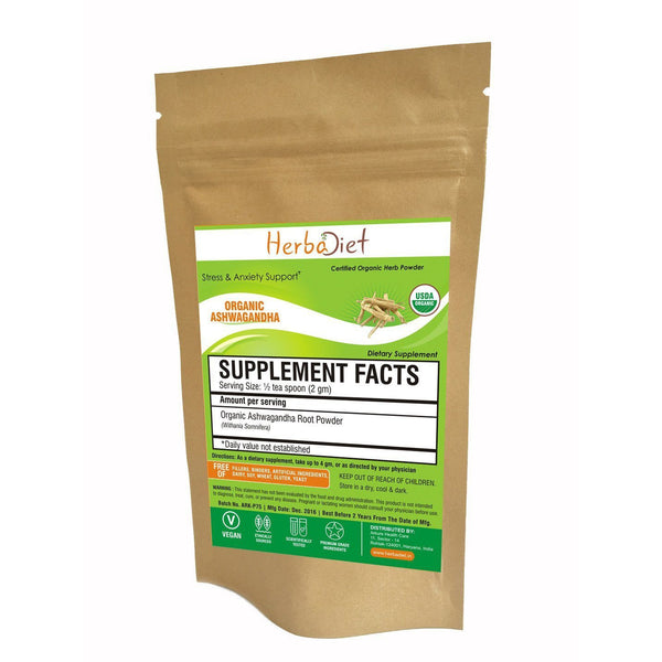 Organic Herb Powders - Herbadiet USDA Organic Ashwagandha Root Powder Withania Somnifera Indian Ginseng Supplement | Organic Herbs India