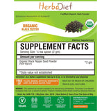 Organic Herb Powders - Herbadiet USDA Organic Black Pepper Seed Powder Piper Nigrum Supplement