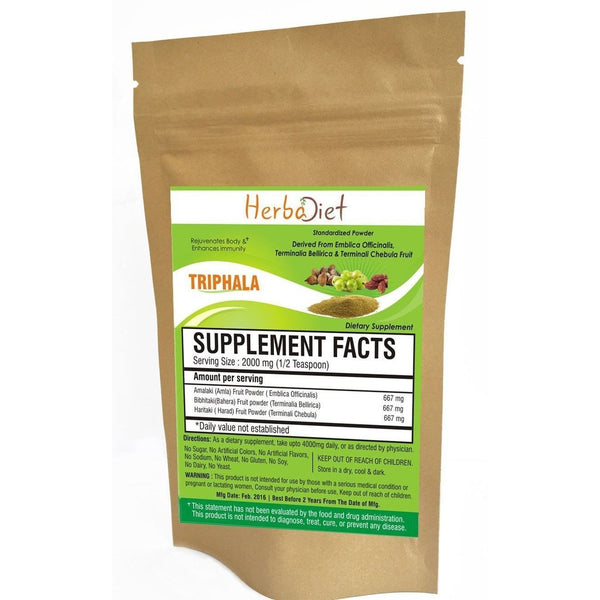 Organic Herb Powders - Herbadiet USDA Organic Triphala Powder Premium Grade Digestive Supplement