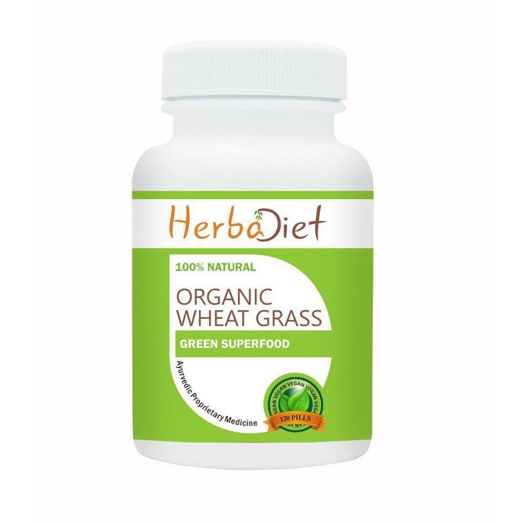 Organic Single Herb Capsules - Herbadiet Organic Wheatgrass 500mg Tablets Natural Superfood Supplement