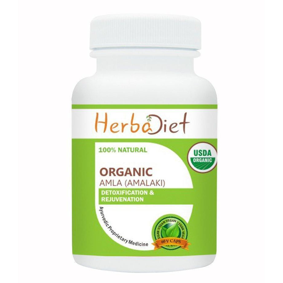 Organic Single Herb Capsules - Herbadiet USDA Organic Amla Fruit Indian Gooseberry 500mg Veg Capsules