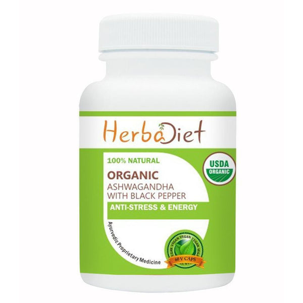 Organic Single Herb Capsules - Herbadiet USDA Organic Ashwagandha Root 500mg Veg Capsules Enhanced Absorption