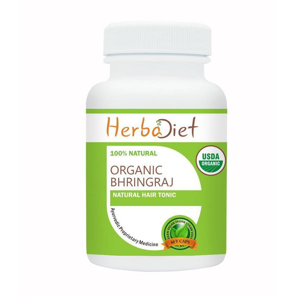 Organic Single Herb Capsules - Herbadiet USDA Organic Bhringraj Fruit 400mg Veg Capsules Eclipta Alba Hair Tonic Supplement