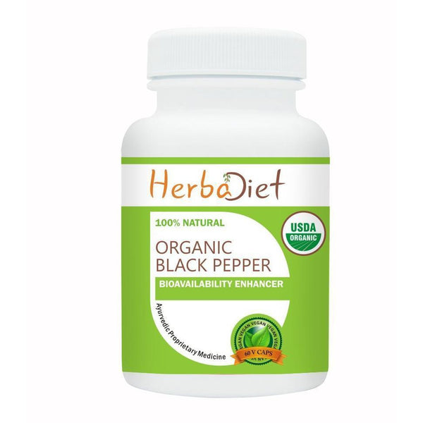 Organic Single Herb Capsules - Herbadiet USDA Organic Black Pepper W/- Piperine 400mg Veg Capsules Boosts Stomach Health