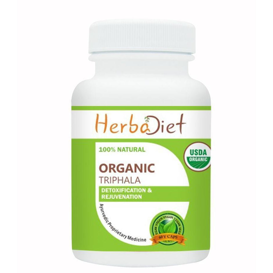 Organic Single Herb Capsules - Herbadiet USDA Organic Triphala Fruit 400mg Veg Capsules Digestive Support Detox Supplement