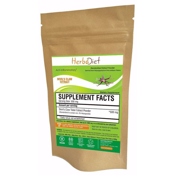 Standardized Extracts - Herbadiet Devil's Claw 5% Harpagoside Powder Extract Supplement - Inflammation Support