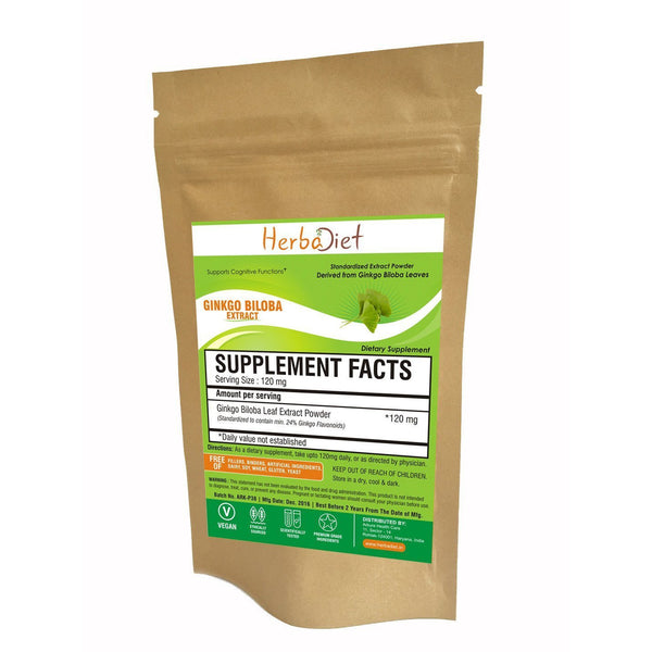 Standardized Extracts - Herbadiet Ginkgo Biloba 24% Flavinoids Powder Extract Supplement