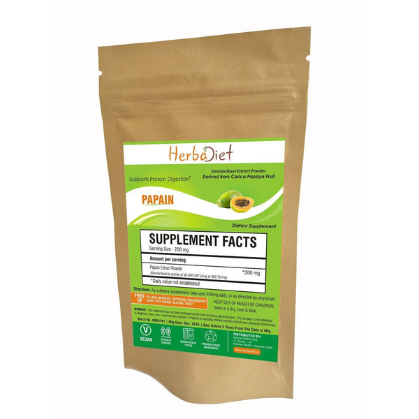 Standardized Extracts - Herbadiet Papain 800 TU/mg Powder Extract Digestive Enzyme Supplement