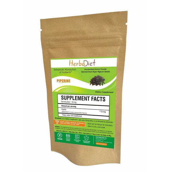 Standardized Extracts - Herbadiet Piperine 95% BioPerine 95% Black Pepper Powder Extract Supplement