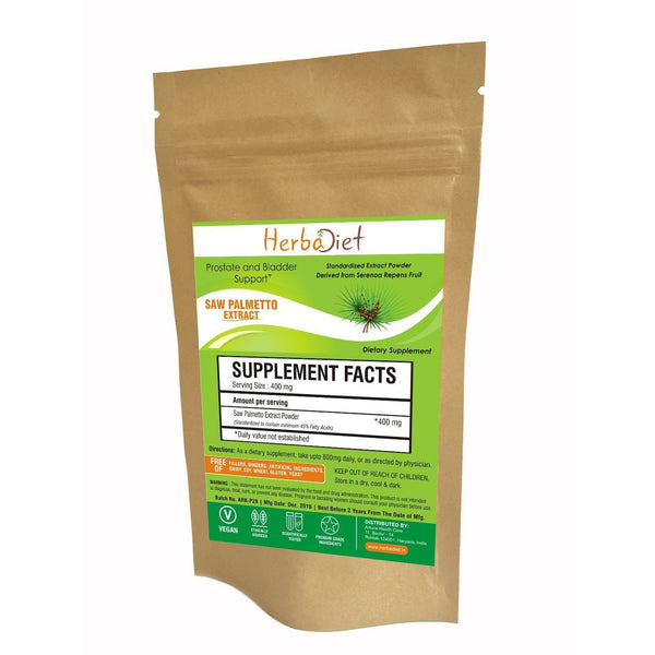 Standardized Extracts - Herbadiet Saw Palmetto 45% Fatty Acids Powder Extract Prostate Health Hair Loss Supplement