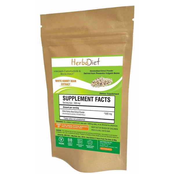 Standardized Extracts - PURE White Kidney Bean Extract Powder 20000 U/g Carb Blocker PREMIUM Quality
