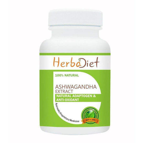 Standardized Single Herb Extract Capsules - Herbadiet Ashwagandha Extract 20% Withanolides 500mg Vegetarian Capsules | Ashwagandha Online