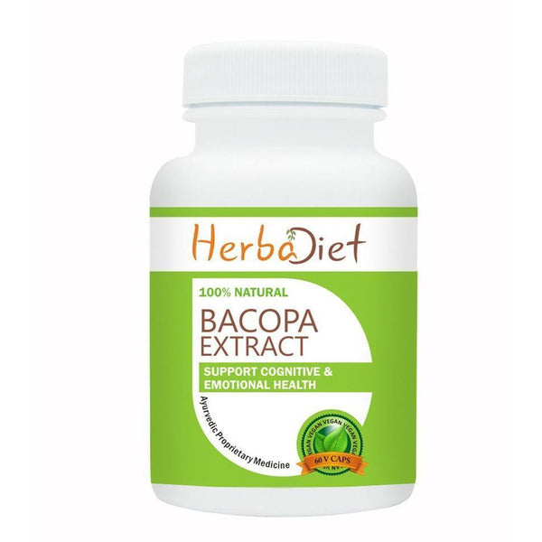 Standardized Single Herb Extract Capsules - Herbadiet Bacopa Monnieri Extract 50% Bacosides 500mg Vegetarian Capsules | Best Brain Supplements In India