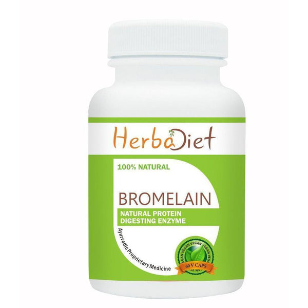 Standardized Single Herb Extract Capsules - Herbadiet Bromelain Supplement 500mg Vegetarian Capsules Protein Digestive Enzyme