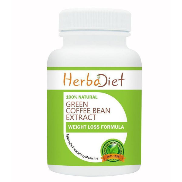 Standardized Single Herb Extract Capsules - Herbadiet Green Coffee Bean Extract 500mg Vegetarian Capsules
