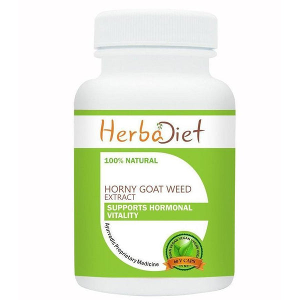 Standardized Single Herb Extract Capsules - Herbadiet Horny Goat Weed Extract 20% Icariin 500mg Vegetarian Capsules Supplement