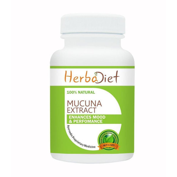 Standardized Single Herb Extract Capsules - Herbadiet Mucuna Pruriens Extract 20% L-Dopa 500mg Vegetarian Capsules Mood Enhancer Supplement