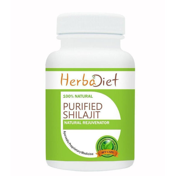 Standardized Single Herb Extract Capsules - Herbadiet Purified Shilajit Extract 500mg Vegetarian Capsules Energy Supplement