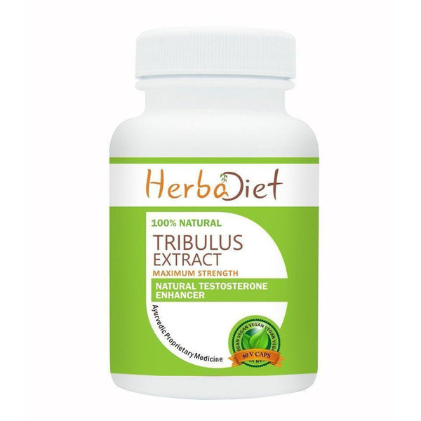 Standardized Single Herb Extract Capsules - Herbadiet Tribulus Terrestris Extract 60% Saponins 500mg Vegetarian Capsules