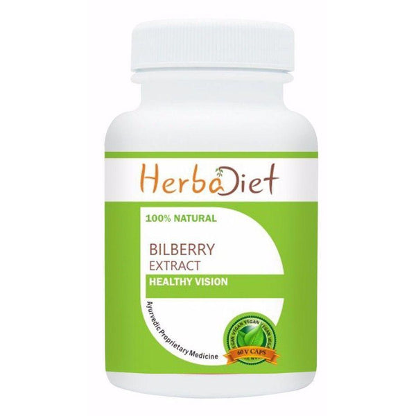Standardized Single Herb Extract Capsules - PURE Bilberry Extract 25% Anthocyanins Vegan 500mg Capsules Vision & Eye Health