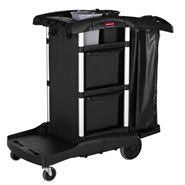 RUBBERMAID HIGH SECURITY EXECUTIVE JANITORIAL CLEANING CART, BLACK