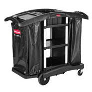 RUBBERMAID HIGH SECURITY EXECUTIVE JANITORIAL CLEANING N RECYCING CART, BLACK