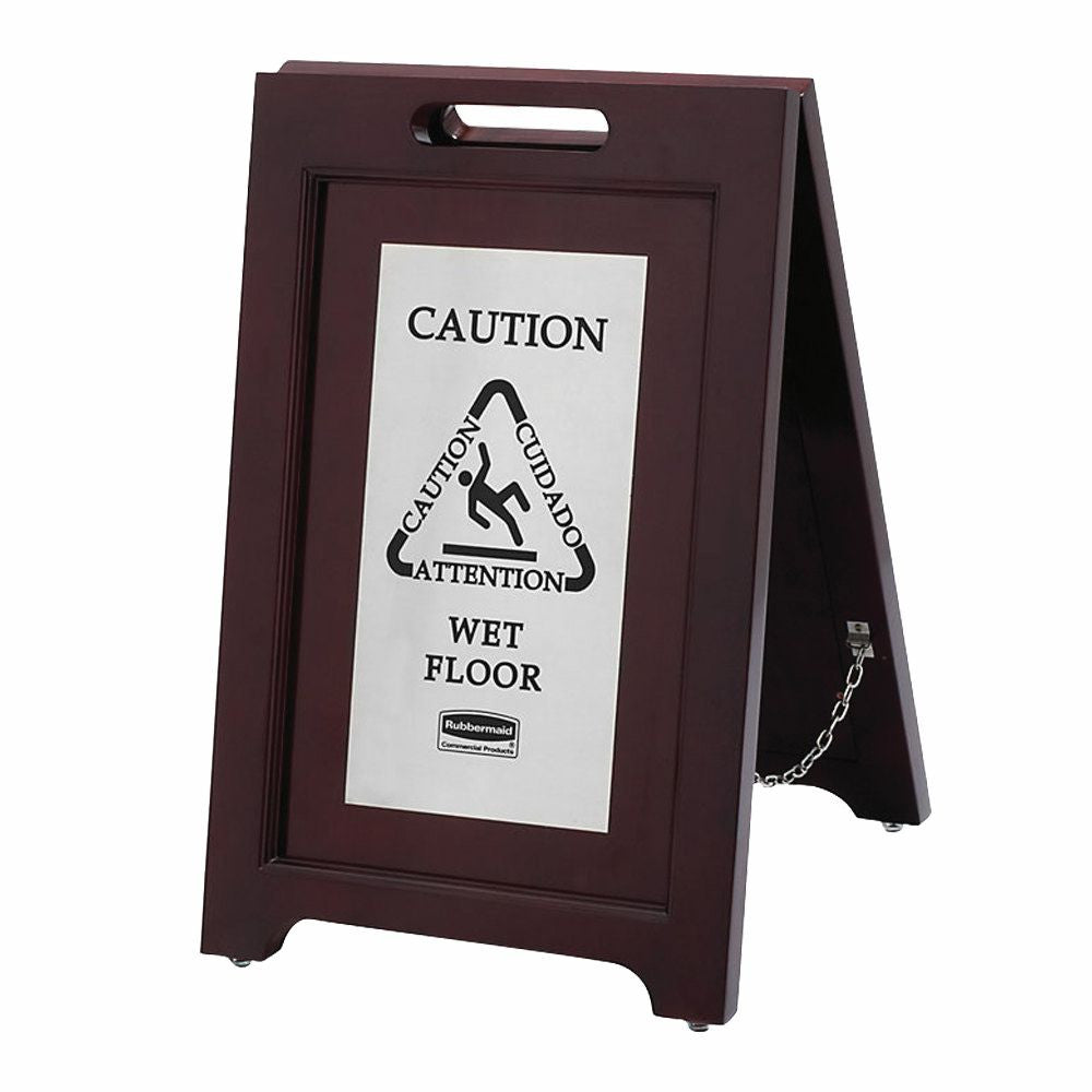 EXECUTIVE WOODEN M-LINGUAL CAUTION SIGN, 2sided SILVER