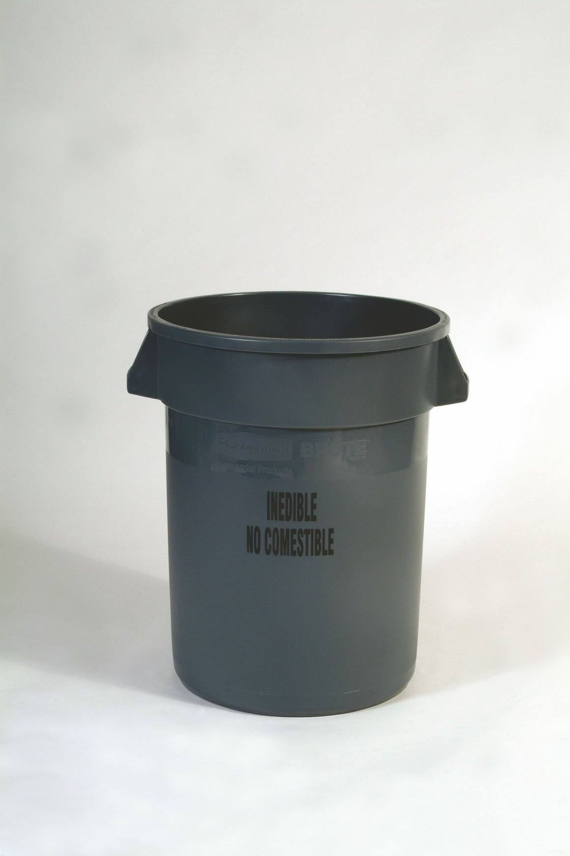 "BRUTE CONTAINER 32gal W/O LID GRAY ""INEDIBLE"" IMPRINT"